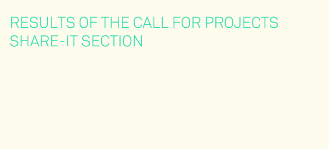 CALL FOR PROJECTS 2013 | RESULTS OF THE SHARE-IT SECTIONLLAMADA A PROYECTOS 2013 | RESULTADOS DE LA CATEGORIA SHARE-IT